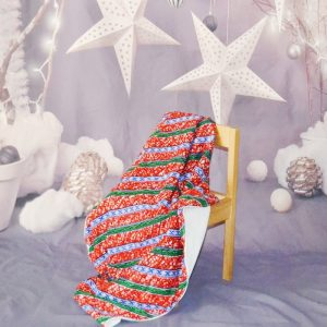 red and green Christmas baby blanket